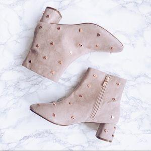 Topshop • Bee Heart Stud Ankle Boots Block Heel